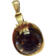 Vintage 1940's 14 K Gold Large Faceted Smokey Quartz Pendant