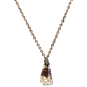 Art Deco Clear Faceted Crystal Briolette Pendant On Silver Tone Chain