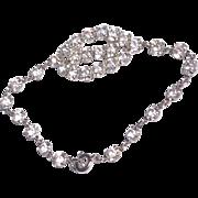 Vintage Silver Tone Metal Clear Sparkling Rhinestone Bracelet