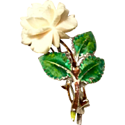 Art Deco 1930's Sterling Silver Carved Bone Rose Enameled Flower Pin Brooch Germany