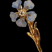 Vintage Gold Tone Metal Light Blue Lucite Floral Brooch