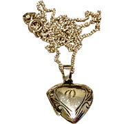Vintage Sterling Silver Heart Locket & Chain