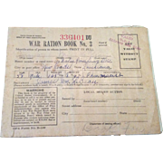 Vintage World War 11 Ration Stamp Book # 3