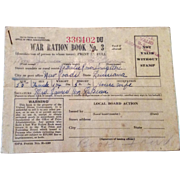 Vintage World War 11 Ration Stamp Book #3