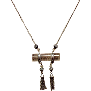 Vintage Art Deco Silver Tone Metal Clear Lucite Necklace With Dangles