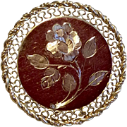 Vintage Winard 12K Gold Filled Circle Floral Brooch