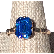Vintage Child's Gold Filled Sapphire Blue Faceted Stone Ring Size 5