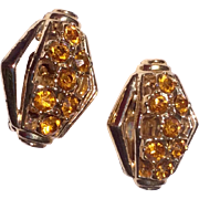 Vintage Gold Tone Metal Citrine Rhinestone Clip Earrings