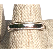 Vintage Sterling Silver Beaded Edge Wedding Band Size 6 1/2