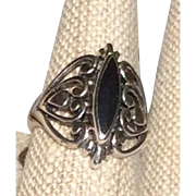 Vintage Sterling Silver Black Onyx Ring Size 6 3/4