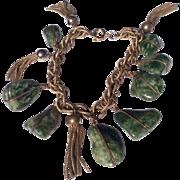 Vintage Gold Tone Metal Jade Nugget Bracelet With Tassels