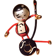 Vintage Japanese Banjo Playing Doll Brooch