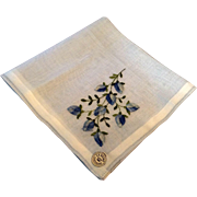 Vintage Light Blue Hankie Blue Flowers