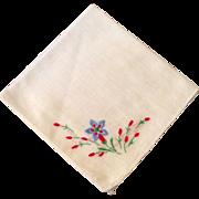 Vintage Cotton Hankle Blue Red & Green Floral