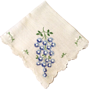 Vintage White Scalloped Edge Hankie Blue & White Flowers