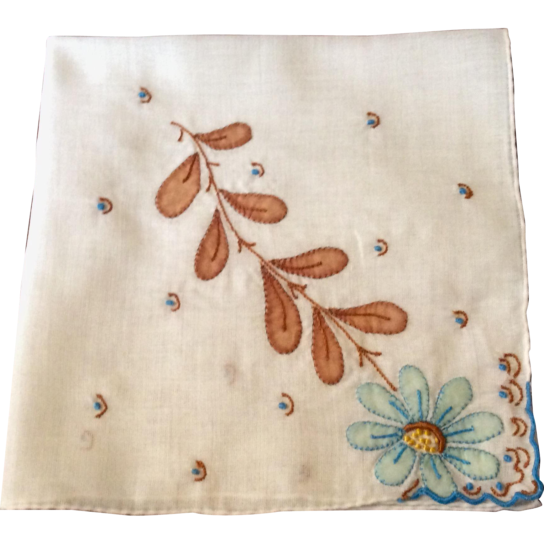 Large Vintage White With Embroidered Flower