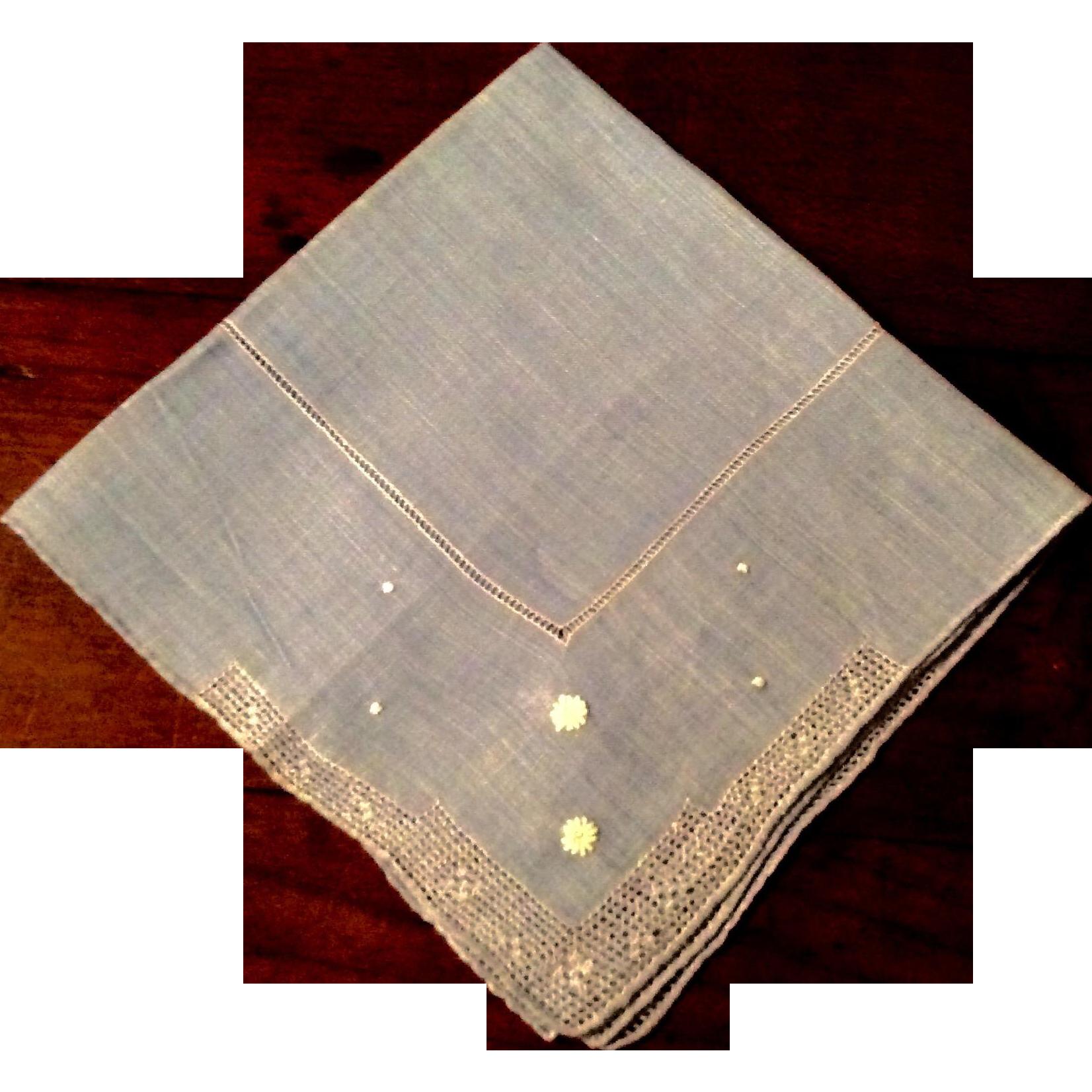 Vintage Blue Linen  Hankie With Pulled Thread Work Border