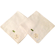 Vintage Set Of Two Plain White Linen Hankies