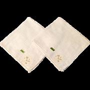 Vintage Set Of Two Plain White Linen Hankies