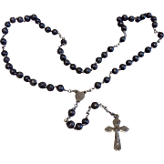 Very Early Silver Tone Metal Black Bead Rosary