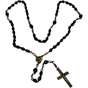 Very Early Gold Tone Metal Black Bead Rosary