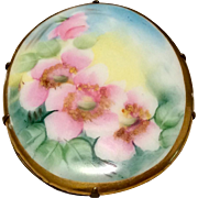 Victorian Hand Painted Porcelain Brooch Roses