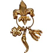 Vintage Gold Tone Metal Fleur d Lis Charm Holder Pendant With Three Good Luck Charms