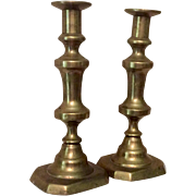 Antique Pair 19th Century Push Up Brass Candlesticks