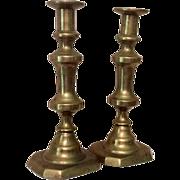 Antique Pair 19th Century Push Up Brass Candlesticks