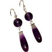 Vintage Sterling Silver Handmade Genuine Amethyst Dangle Earrings