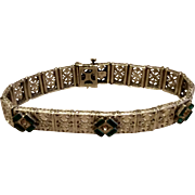 Vintage Art Deco Crominum Emerald Green & Clear Rhinestone Flexible Link Bracelet