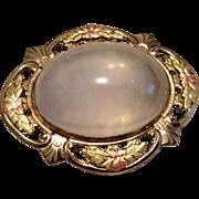 Vintage Gold Filled Genuine Moonstone 10 Carat Cabochon Brooch