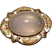 Vintage Two Tone Gold Filled Genuine Moonstone 10 Carat Cabochon Brooch