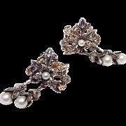 Vintage Reproduction Georgian Rose Cut & Seed Pearl 8 K & Sterling Silver Earrings