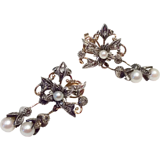 Vintage Reproduction Georgian Rose Cut Diamond  & Seed Pearl 8 K & Sterling Silver Dangle Earrings