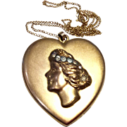 Vintage Art Deco B & B 14 K Gold Filled Rhinestone Paste Double Photo Heart Locket