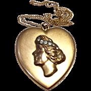 Vintage Art Deco B & B 14 K Gold Filled Rhinestone Paste Double Photo Heart Locket