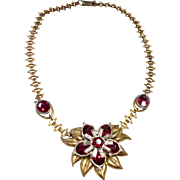 Vintage Gold Filled Red Rhinestone Pendant Necklace
