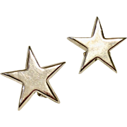 Vintage Sterling Silver Star Clip Earrings