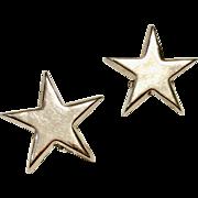 Vintage Sterling Silver Star Clip Earrings