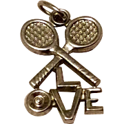 Vintage Sterling Silver I Love Tennis Pendant Charm