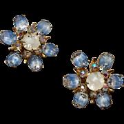 Vintage Coro Gold Tone Metal Rhinestone Clip Earrings