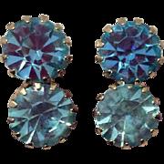 Vintage Light Blue Rhinestone Screw Back Earrings