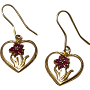 Vintage Gold Filled Heart Shaped Flower Dangle Earrings Ruby Diamond