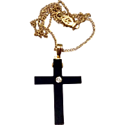 Vintage Gold Filled Jet Mourning Cross & Chain
