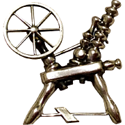 Vintage Sterling Silver Spinning Wheel Brooch