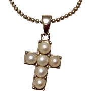 Vintage Sterling Silver Pearl Cross & Chain