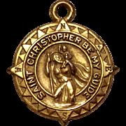 Vintage Gold Tone St. Christopher Medal