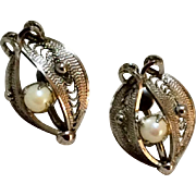 Vintage Sterling Silver Faux Pearl Screw Back Earrings