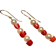 Vintage Gold Filled Cultured Pearl Coral Tulip Dangle Earrings
